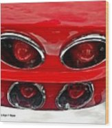 Classic Car Tail Lights Reflection Wood Print