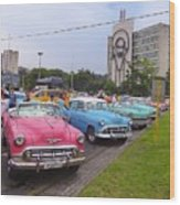 Classic Cars In Revolutionary Square Cuba Wood Print