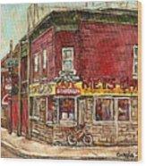 Classic Chinese Restaurant Montreal Memories Silver Dragon Canadian Paintings Carole Spandau         Wood Print