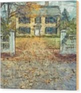 Classic Colonial Home In Autumn Pencil Wood Print