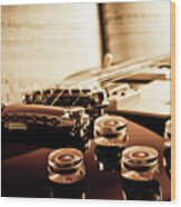 Classic Guitar Still Life With Notes Wood Print