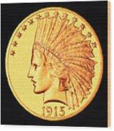 Classic Indian Head Gold Wood Print