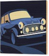 Classic Mini Cooper In Blue Wood Print