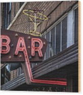 Classic Neon Sign For A Bar Livingston Montana Wood Print