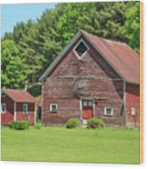 Classic Old Red Barn In Vermont Wood Print