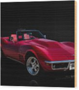 Classic Red Corvette Wood Print