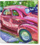 Classic Red Vintage Car Wood Print