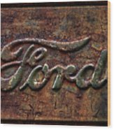 Classic Rusty Ford Pickup Truck Logo Detail Wood Print