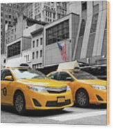 Classic Street View Of Yellow Cabs In New York City Wood Print