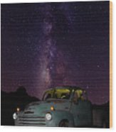Classic Truck Under The Milky Way Wood Print