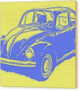 Classic Vw Beetle Tee Blue Ink Wood Print