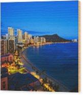 Classic Waikiki Nightime Wood Print