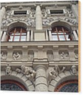 Classical Decorative Building Facade In Vienna Wood Print