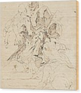 Classical Figures Gathered Around An Urn Wood Print