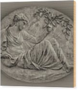 Classical Greek Woman Fresco Wood Print by Bill Cannon