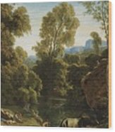 Classical Landscape With Figures By A Lake Wood Print