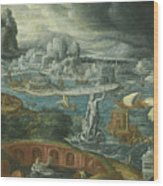 Classical Landscape With Ships Running Before A Storm Towards A Classical Harbour Probably Corinth Wood Print