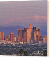 Classical View Of Los Angeles Downtown Wood Print