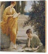 Classical Women Reading  Wood Print