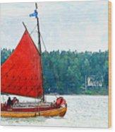 Classical Wooden Boat Tacksamheten Wood Print