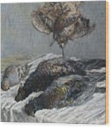 Claude Monet 1840 - 1926 Pheasant, Woodcock And Partridge Wood Print