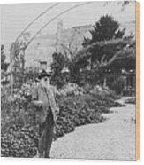 Claude Monet In His Garden Wood Print