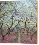 Claude Monet Orchard In Bloom Wood Print