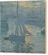 Claude Monet Sunrise Wood Print