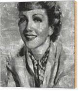 Claudette Colbert Vintage Hollywood Actress Wood Print