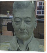 Clay Sculpture Of Gerald Simpson Wood Print