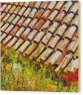 Clay Tiles Wood Print