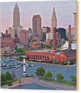 Cle Sunset View From The Shoreway Wood Print