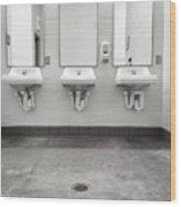 Clean Simple Public Washroom Sinks Mirrors Wood Print
