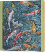 Clear Creek Koi With Painted On Mat Wood Print
