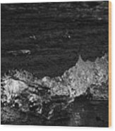 clear ice washing up on the black sand beach at Jokulsarlon Iceland Wood Print