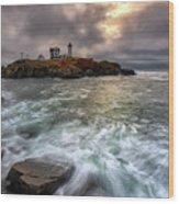 Clearing Storm At Cape Neddick Wood Print