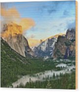 Clearing Storm - View Of Yosemite National Park From Tunnel View. Wood Print