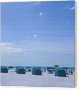 Clearwater Beach Florida Shelters Wood Print
