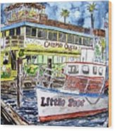 Clearwater Florida Boat Painting Wood Print
