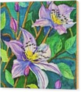 Clematis For Elsie Wood Print