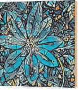 Clematis In Blue Fantasia Wood Print