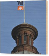 Clemson Flag At State House Wood Print