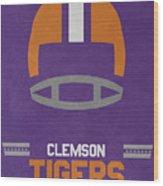 Clemson Tigers Vintage Football Art Wood Print
