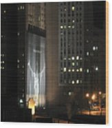 Cleveland At Night 03 - Lebron James Light Display Wood Print by Neil Doren