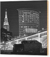 Cleveland Black And White Panoramic Wood Print