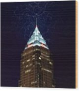 Cleveland Key Building With Electricity Wood Print