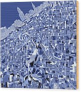 Cleveland Map Blue Wood Print