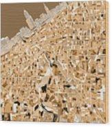 Cleveland Map Sepia Wood Print