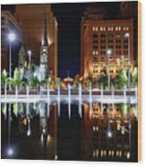 Cleveland Public Square Fountains Wood Print
