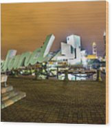 Cleveland Sign At Voinovich Park Wood Print